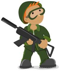 Fotorolgordijn Militair Soldier holding the airsoft gun