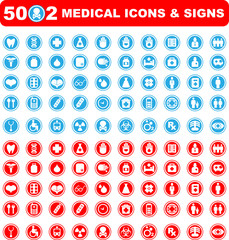 Medical icons set of 50x2 medical icons and warning-signs. Red a