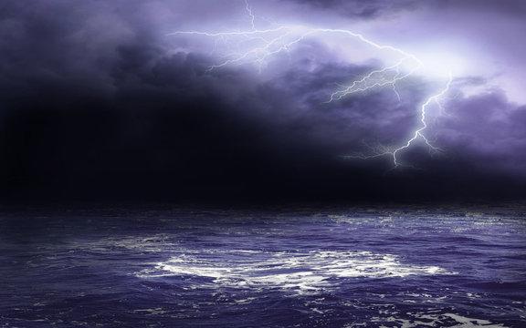 Dark Blue Sky On The Sea