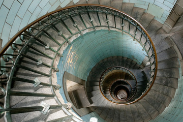 Foto op Canvas Vuurtoren snail lighthouse staircase