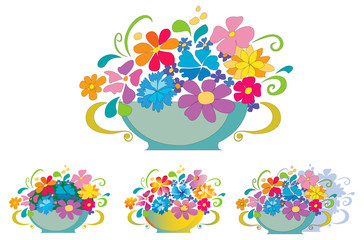 Basket with flowers with three extra variations