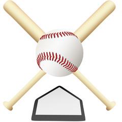 Baseball Emblem crossed bats over home plate