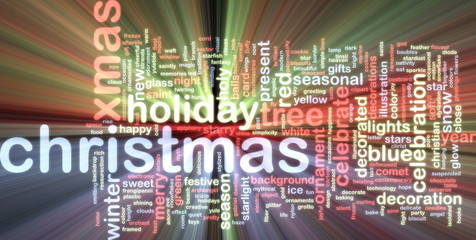 Christmas word cloud glowing