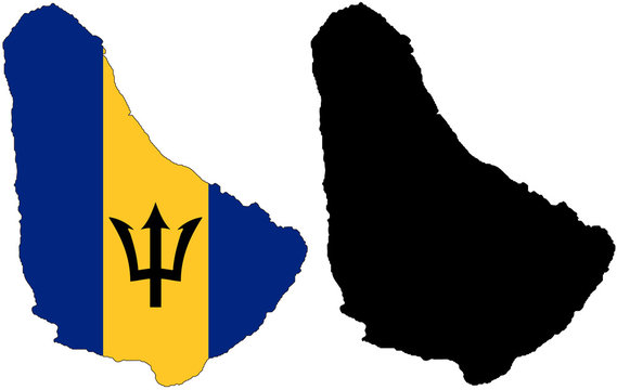 vector  map and flag of barbados
