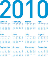 Simple Blue Calendar for year 2010, in vector format.