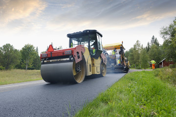 steamroller and paving