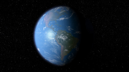 3D earth with the view of South and North America