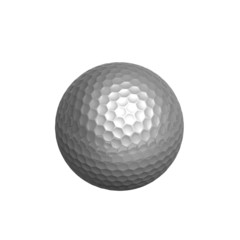 silver golf-ball isolated on white