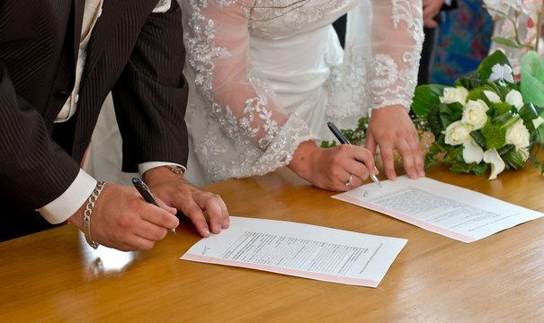 Signature des mariés
