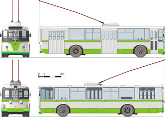 Urban trolleybus isolated