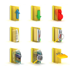 3d rastered folders icons isolated on white background
