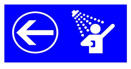 blue shower information sign