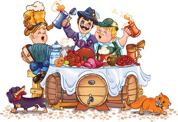 a humorous vector drawing of Oktoberfest festival