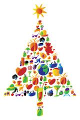 Christmas tree made of icons
