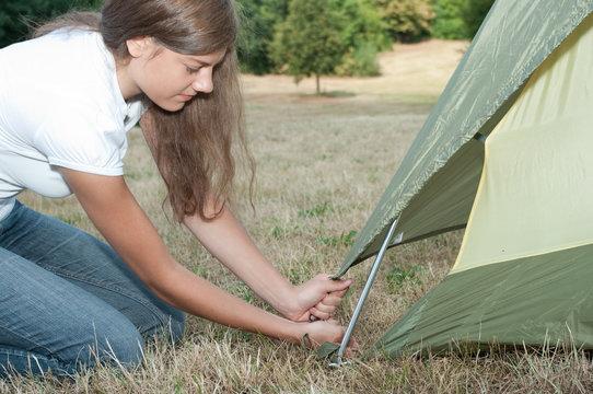 Frau Zelt Camping