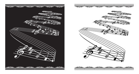 Vector music theme on black and white classical background