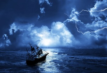 Fototapeten Schiff sailing-ship in time of storm