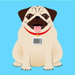Dog with bar code tag