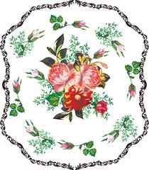 rose decoration in dark frame