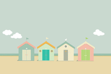candy beach huts by the sea