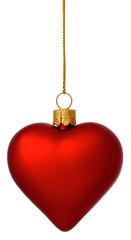 Crimson Christmas heart bauble on gold thread