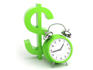 Money Concept with Clock and Dollar Sign
