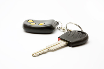 Car key with remote on white