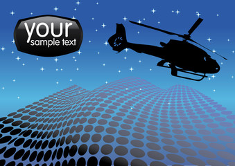helicopter on the night sky vector