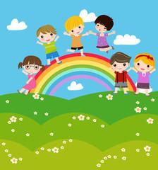 Children on rainbow