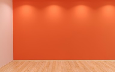 Red blank wall with lights