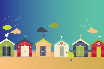 Abstract beach huts