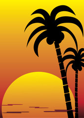 tropical island view vector