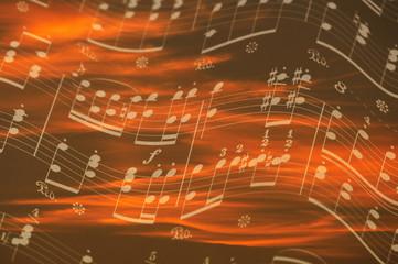 楽譜と朝日