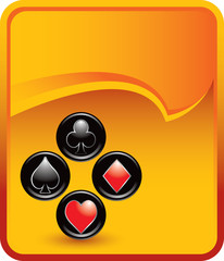 playing card suits on gold rip curl background