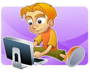 Teenage boy browsing internet