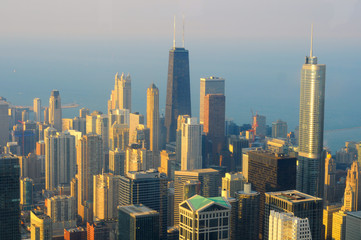 View of Chicago from the top of its tallest building