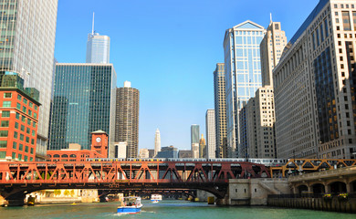 Looking east on the Chicago River from the water