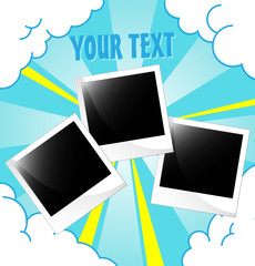 Vector photo frame on happiness background.