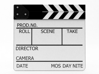 High resolution and isolated on white background. Clapperboard w