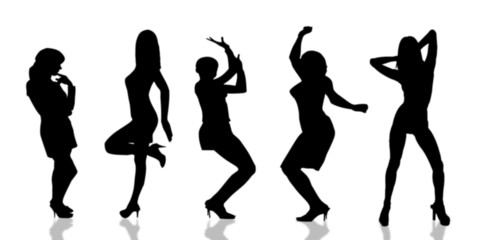 Black silhouettes dancing girl on white background