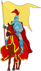 Spoed Foto op Canvas Ridders vector - knight on horse isolated on background