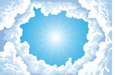 Keuken foto achterwand Hemel Sun in the sky with clouds.