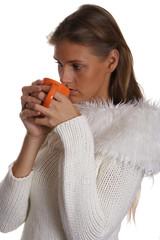 woman and mug