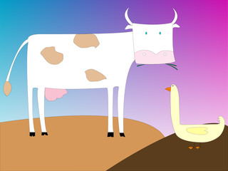 drawing of a cow and goose