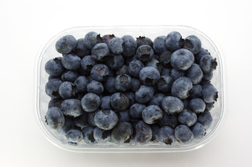 some sweet organic blueberries in a plastic container