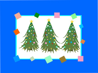 karte mit weihnachtsbäumen