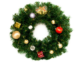 Christmas wreath isolated over white.