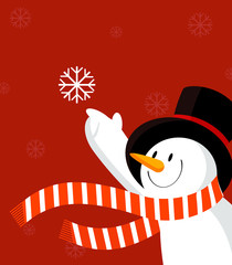 Snowman with snowflake. Red.
