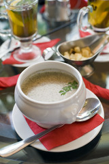 mushroom cream soup at the served table
