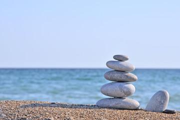 Printed roller blinds Zen Pebble stack on the seashore